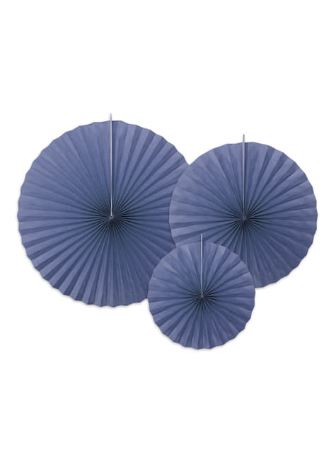 3 leques de papel decorativos azul marinho com borda dourada
