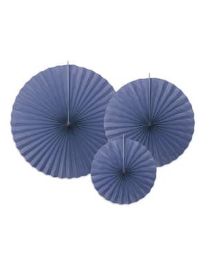 3 koristeellista paperiviuhkaa laivastonsinisenä