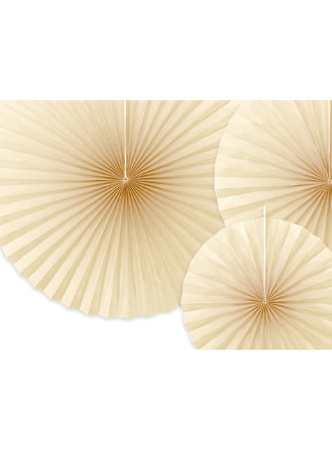 3 abanicos de papel decorativos beige