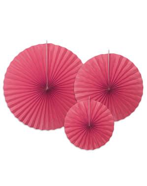 3 decorative paper fans in  fuchsia