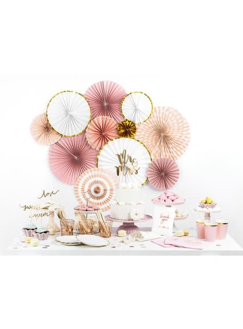 3 Abanicos de papel decorativos variados rosa pálido (23-32-40 cm) - para tus fiestas