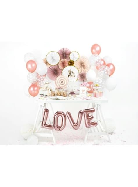 3 Abanicos de papel decorativos variados rosa pálido (23-32-40 cm) - barato