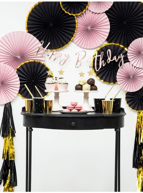 3 Abanicos de papel decorativos variados rosa pálido (23-32-40 cm) - comprar