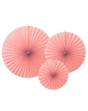 3 leques de papel decorativos cor-de-rosa pastel