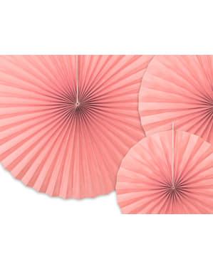 3 abanicos de papel decorativos rosas pastel