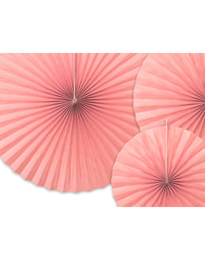 3 decorative paper fans in  pastel pink