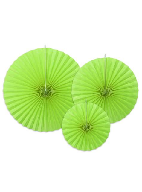 3 abanicos de papel decorativos verde lima