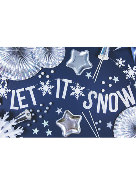 Abanico de papel decorativo con forma de copo de nieve blanco de 25 cm