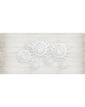 Decorative paper fan in the shape of a white snowflake measuring 37 cm