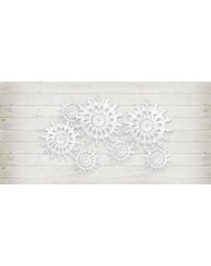 Dekorativ papirvifte i form som et hvit snøflak med mål på 37 cm