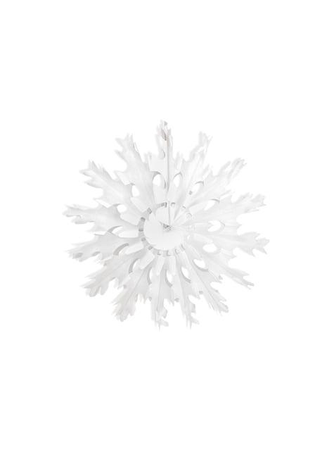 Abanico de papel decorativo con forma de copo de nieve blanco de 45 cm