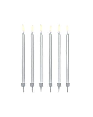 12 bougies d'anniversaire argentées de 12,5 cm