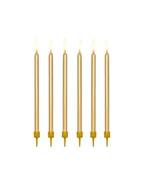Комплект от 12 златни свещи за рожден ден, 12,5 cm