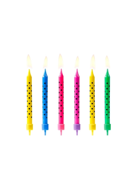 6 velas multicolores con lunares negros (6,5 cm)
