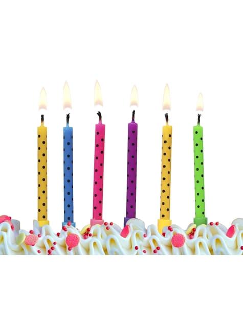 6 candele multicolore con pois neri (6,5 cm)