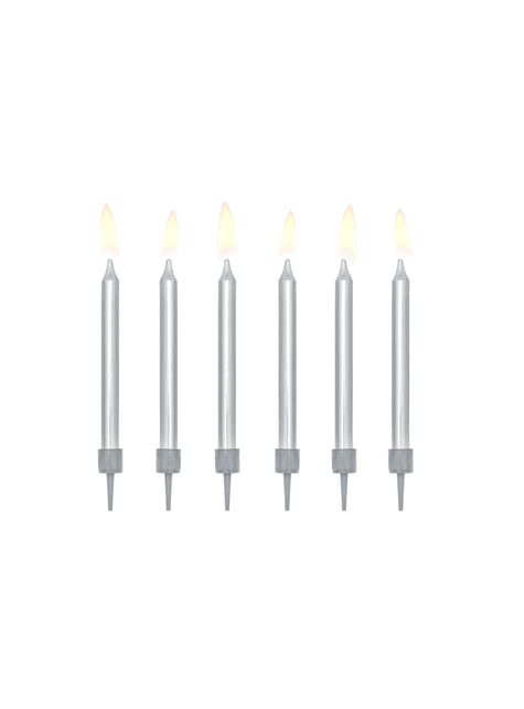 Set de 6 lumânări de aniversare argintii de 6 cm