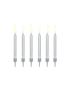 Sett med 6 Sølv Bursdag Stearinlys, 6cm