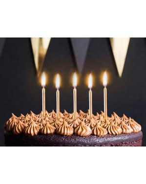 6 velas de aniversário douradas (6 cm)