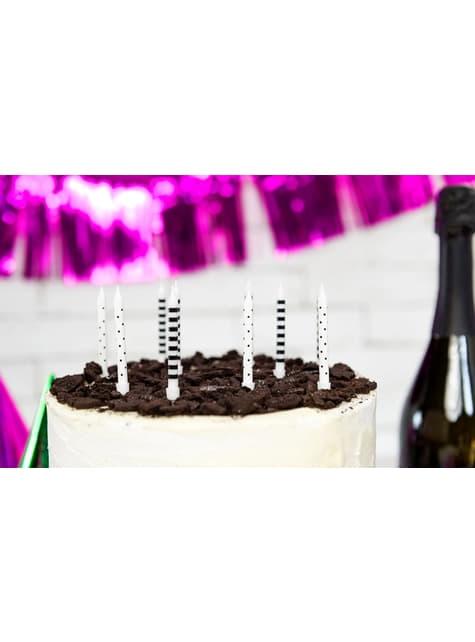 6 candele bianche e nere con stampe assortite (6,5 cm)