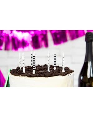6 velas blancas y negras con estampado variado (6,5 cm)