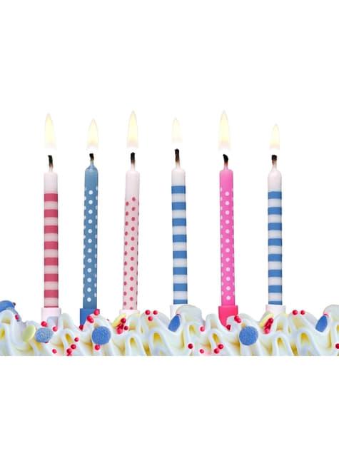Sæt med 6 Assorterede Pink & Blå Fødselsdagsstearinlys