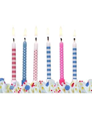 6 velas rosa e azuis com padrões variados (6,5 cm)