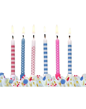6 Assorted Pink & Blue Birthday Candles  (6,5 cm)
