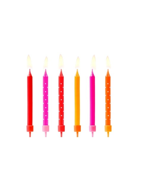 6 bougies roses, rouges et orange à pois