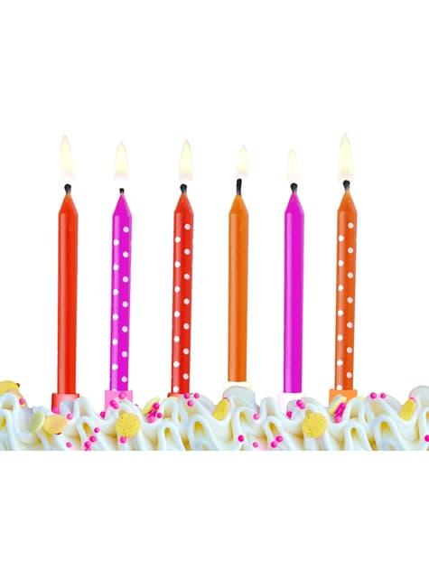 6 velas rosas, rojas y naranjas con lunares (6,5 cm) - para tus fiestas