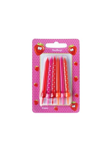 6 candele rosa, rosse e arancioni con pois (6,5 cm)