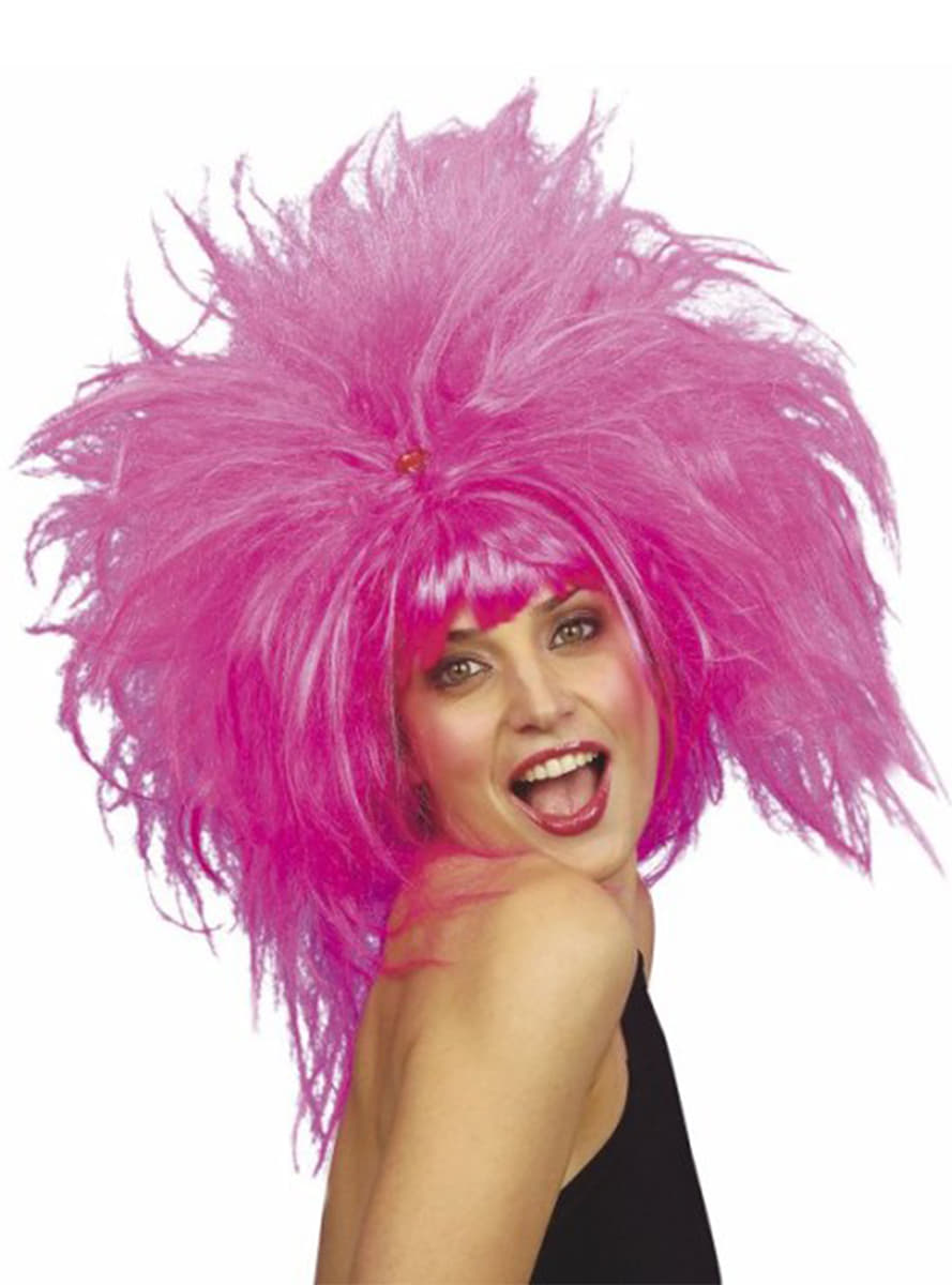 Crazy Pink Wig Express Delivery Funidelia