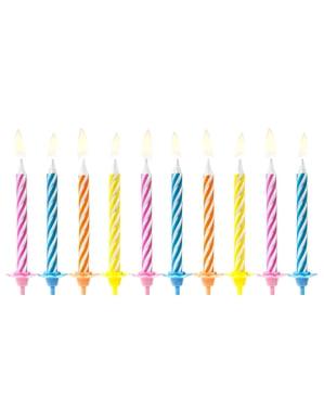 10 velas clásicas colores vivos (6,5 cm)
