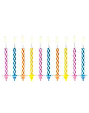 10 velas clássicas de cores vivas (6,5 cm)