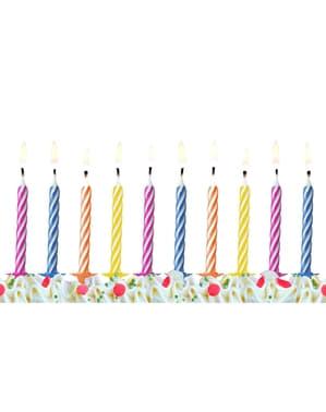 6 Klassiske Farvede Fødselsdagsstearinlys (6,5 cm)