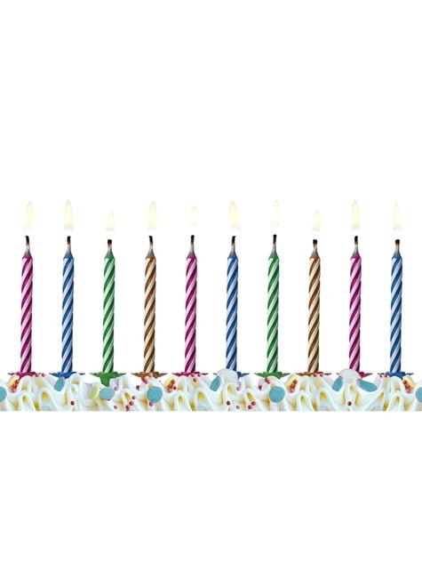 10 velas clásicas colores pastel (6,5 cm)