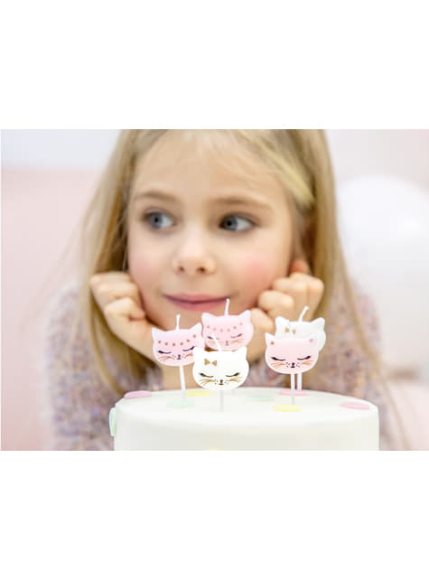 6 Assorted Cat Birthday Candle (2 cm) - Meow Party