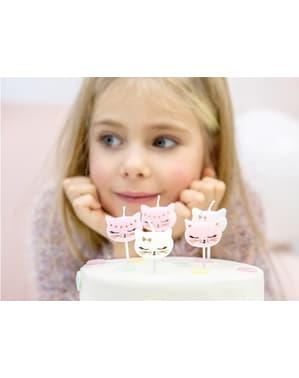 6 velas de cumpleaños con formas de gato variadas (2 cm) - Meow Party