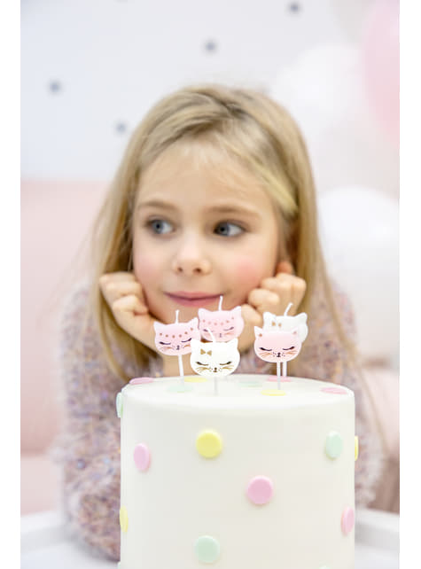 6 bougies d'anniversaire en forme de chat  - Meow Party