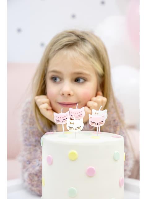 6 velas de cumpleaños con formas de gato variadas (2 cm) - Meow Party - barato