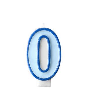 Blauwe nummer 0 verjaardagskaars