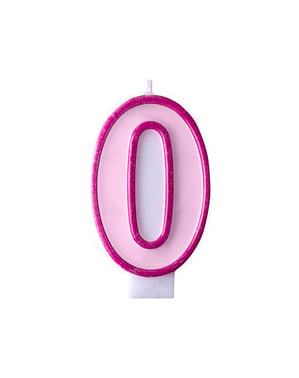 Bougie anniversaire rose chiffre 0