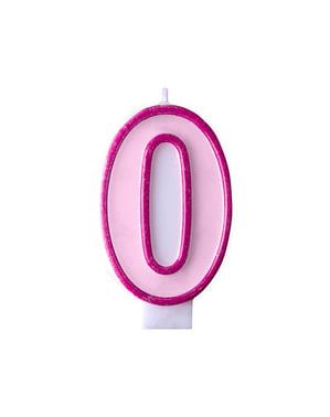 Różowa świeczka urodzinowa Cyfra 0