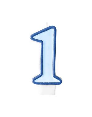 Bougie anniversaire bleu chiffre 1