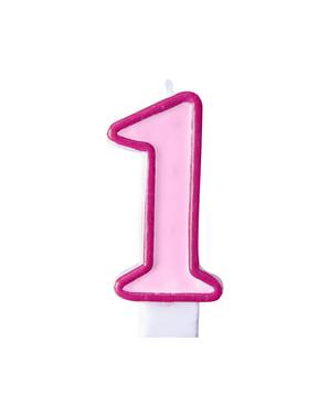 Bougie anniversaire rose chiffre 1