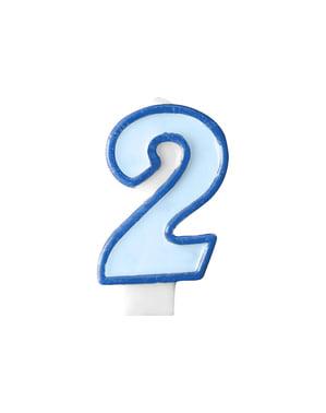 Blauwe nummer 2 verjaardagskaars