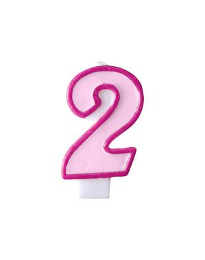 Roze nummer 2 verjaardagskaars