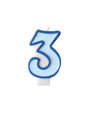 Blauwe nummer 3 verjaardagskaars