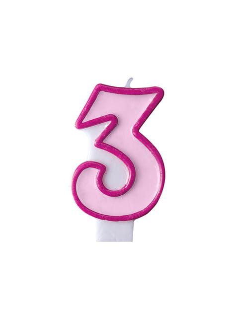 Geburtstagskerze rosa Nr. 3