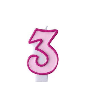 Numero 3 syntymäpäiväkynttilä pinkkinä