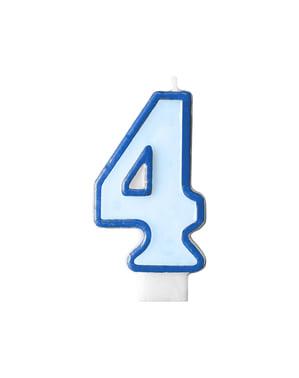Blauwe nummer 4 verjaardagskaars
